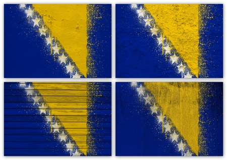 bosnian: Collage of Bosnian flag with different texture backgrounds