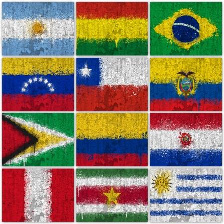 bandera argentina: Banderas Pintadas de América del Sur en la pared agrietada