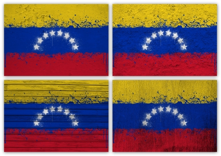 Collage of Venezuelan flag with different texture backgrounds Stock Photo