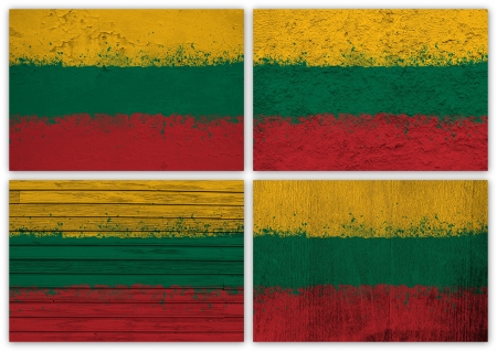 Collage of Lithuanian flag with different texture backgrounds photo