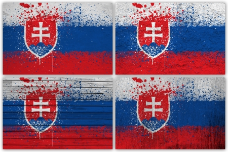 slovak: Collage of Slovak flag with different texture backgrounds