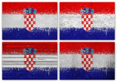 Collage of Croatian flag with different texture backgrounds photo