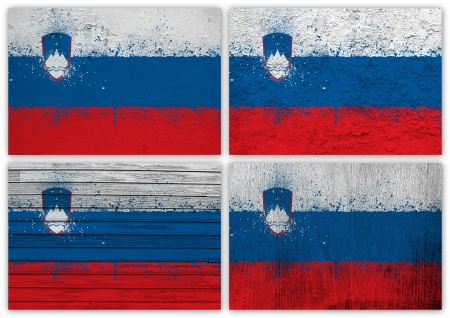 slovenian: Collage of Slovenian flag with different texture backgrounds