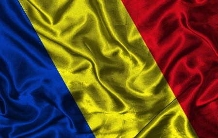 pennon: Waving colorful Romanian flag on a silk background