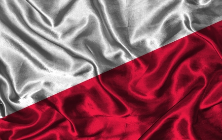 pennon: Waving colorful Polish flag on a silk background Stock Photo