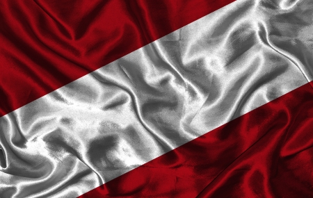 pennon: Waving colorful Latvian flag on a silk background