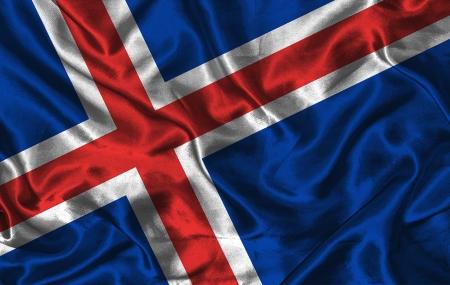icelandic flag: Bandera que agita island�s colorido en un fondo de seda