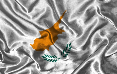 pennon: Waving colorful Cyprian flag on a silk background