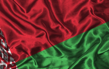 pennon: Waving colorful Belarus flag on a silk background
