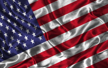 colorific: Waving colorful USA flag on a silk background Stock Photo