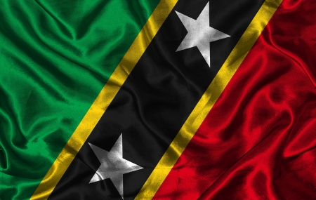 colorific: Waving colorful Saint Kitts and Nevis flag on a silk background