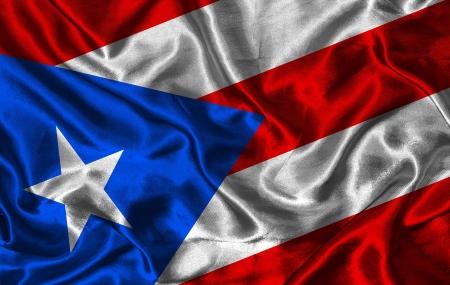 bandera de puerto rico: Saludar con la mano colorida Bandera de Puerto Rico en un fondo de seda