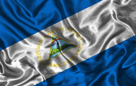 pennon: Waving colorful Nicaragua flag on a silk background