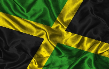 Waving colorful Jamaica flag on a silk background Stock Photo - 15844332