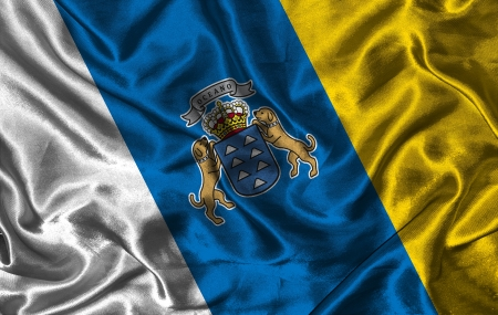 gran: Waving colorful Canary Islands flag on a silk background