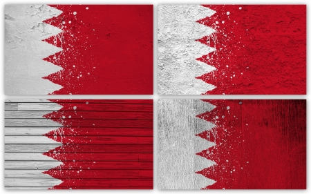 Collage of Bahrain flag with different texture backgrounds photo