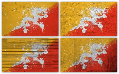 Collage of Bhutan  flag with different texture backgrounds photo