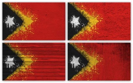 Collage of East Timor flag with different texture backgrounds photo
