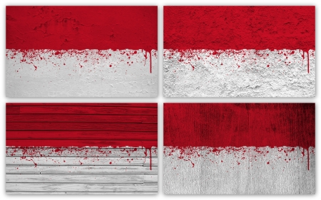 Collage of Indonesia flag with different texture backgrounds photo