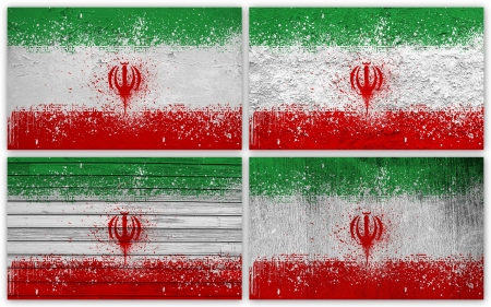 Collage of Iran flag with different texture backgrounds photo