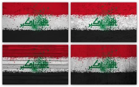 Collage of Iraq  flag with different texture backgrounds