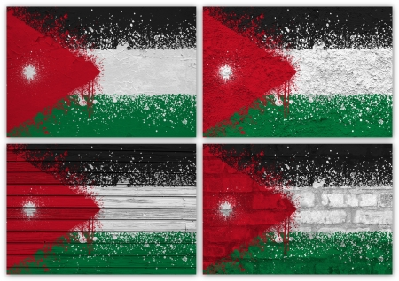 Collage of Jordan flag with different texture backgrounds photo