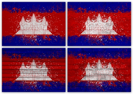 Collage of Cambodia  flag with different texture backgrounds Stock Photo - 15923830