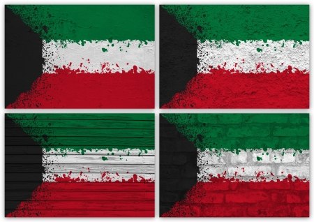 Collage of Kuwait flag with different texture backgrounds