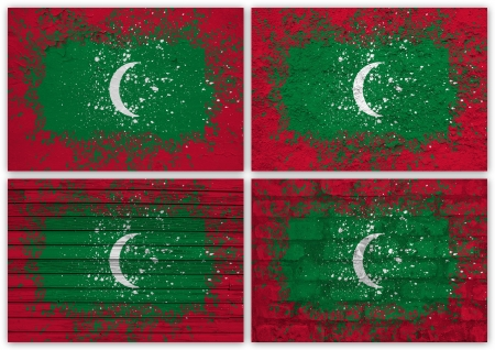 Collage of Maldives flag with different texture backgrounds photo