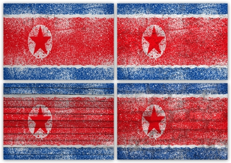 Collage of North Korea flag with different texture backgrounds Stock Photo - 15923884