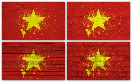 Collage of Vietnam  flag with different texture backgrounds photo