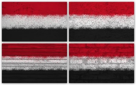 Collage of Yemen flag with different texture backgrounds photo