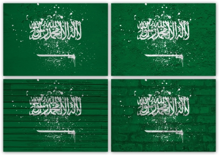 Collage of  Saudi Arabia flag with different texture backgrounds photo