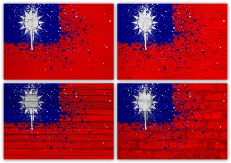 Collage of Taiwan (Republic of China)  flag with different texture backgrounds Stock Photo - 15923899