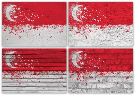Collage of Singapore flag with different texture backgrounds