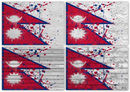 Collage of Nepal  flag with different texture backgrounds photo