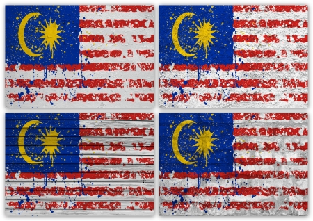 Collage of Malaysia flag with different texture backgrounds photo