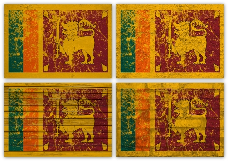 sri lanka: Collage of Sri Lanka flag with different texture backgrounds