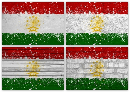 tajikistan: Collage of Tajikistan flag with different texture backgrounds Stock Photo