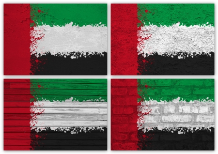 Collage of United Arab Emirates flag with different texture backgrounds Stock Photo - 16006604