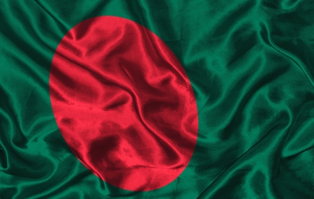 Waving colorful Bangladesh flag on a silk background photo