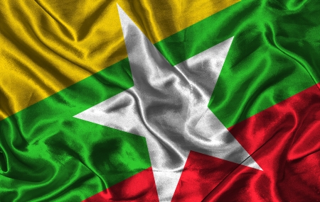 pennon: Waving colorful Myanmar flag on a silk background