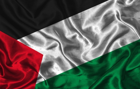 Waving colorful Palestine flag on a silk background