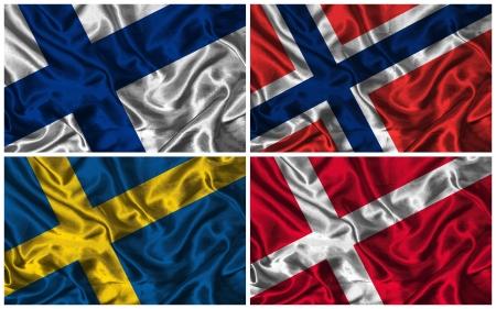 Waving kleurrijke vlaggen van de Scandinavische landen op een zijde achtergrond