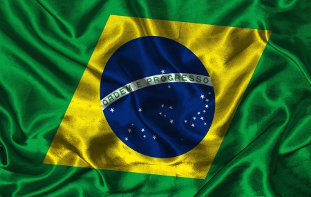pennon: Waving colorful Brazil flag on a silk background Stock Photo