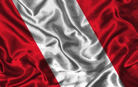 colorific: Waving colorful Peru flag on a silk background