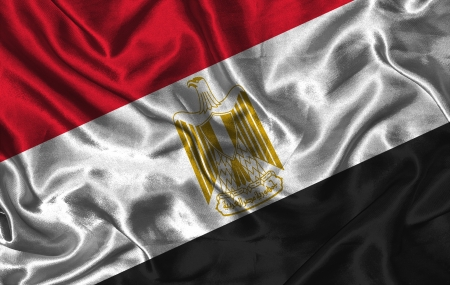 colorific: Waving colorful Egypt flag on a silk background