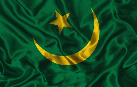 pennon: Waving colorful Mauritania flag on a silk background Stock Photo