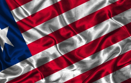 pennon: Waving colorful Liberia flag on a silk background