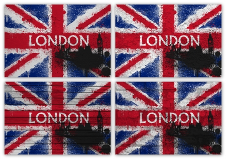 Collage of British flag with word London with different texture backgrounds